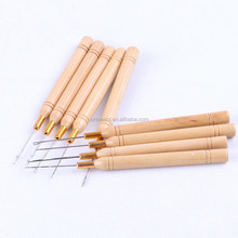 8pcs/lot Wooden Handle crochet Hook Needle for linking Micro Rings/Loop Needle for Hair Extensions wig Tools