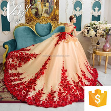 Luxurious Wedding Dress 2017 Haute Couture Heavy Beaded Bridal Dress Embroidery Lace Wedding Dress Ball Gown Red
