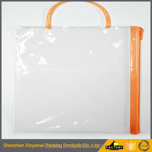 customizable transparent clear pvc zipper plastic packaging bags with hanger hole