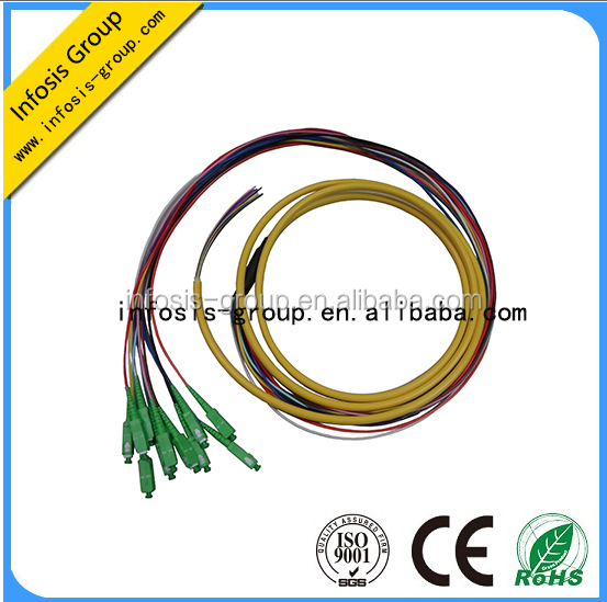 good supplier pigtail Green color SC FC LC APC pc upc fiber optic pigtail 12 cores Fan Out Bundle mm sm fiber pigtail catheter