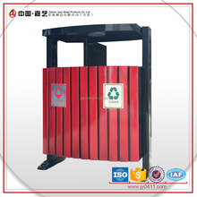 Outdoor wood and metal factory sales double iron recycling bin stand