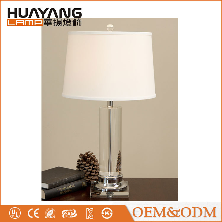 US Home 2102-T Column fabric lampshade modern glass crystal table lamp