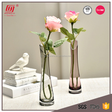 Hongyi Hand made Mouth Blown colorful Oblique Glass Vases