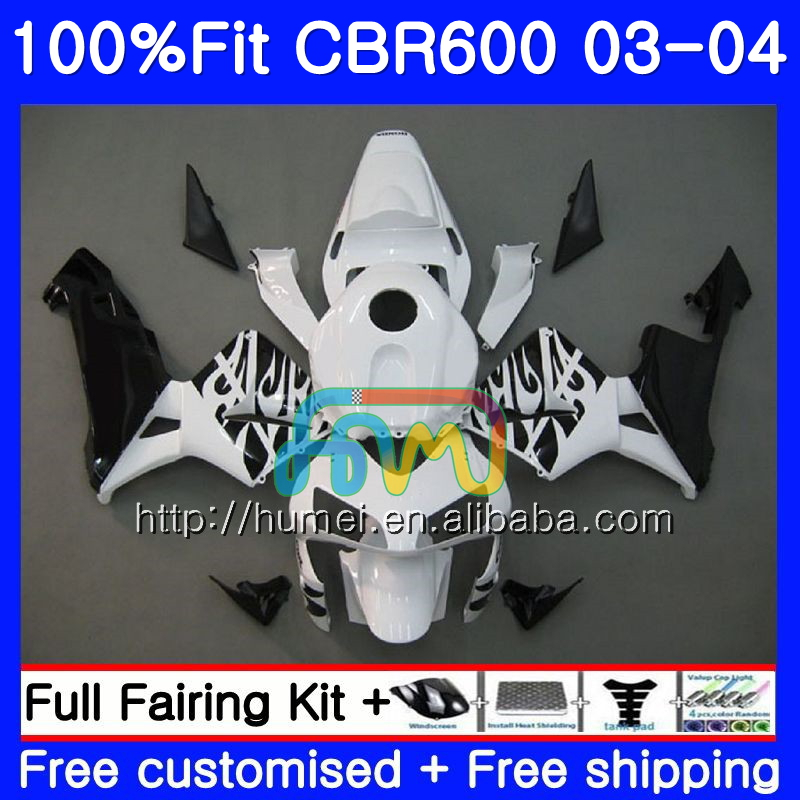 Injection For HONDA CBR 600RR F5 CBR600 RR 03-04 11HM74 white black CBR600RR F5 03 04 CBR600F5 CBR 600 RR 2003 2004 Fairing kit