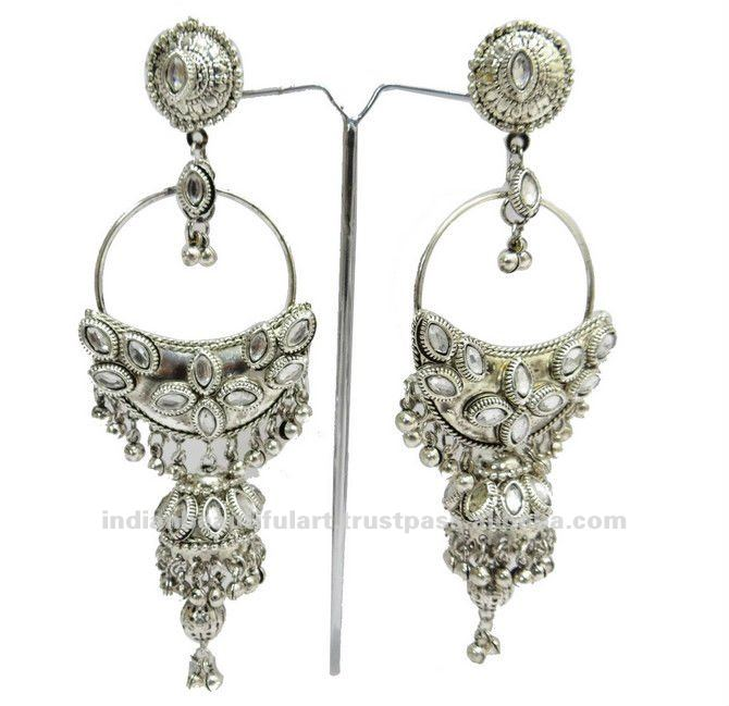 Large Ethnic Earrings Silver Tone Asian Fashion Jewelry