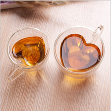 UCHOME Heart Shaped Clear Double Wall Glass Tea Cup With Handle lovers coffee Afternoon Tea Double Layer Glass Cups