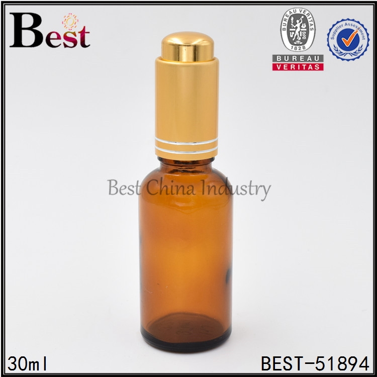 30ml gold press pump dropper bottle essential oil amber glass cosmetic container