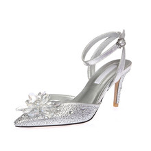Top Brand Bridal Silver High Heels Crystal Shoes Wedding Fancy Sandals With Rhinestone