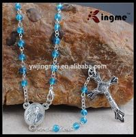 4mm blue crystal with AB finished rosary with Pope Francis Center Piece