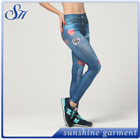 thick girls tight jeans seamless denim fabric stecth jegging with bright color