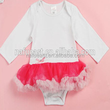 2016-2017 hot sale blank long sleeve cotton baby tutu romper
