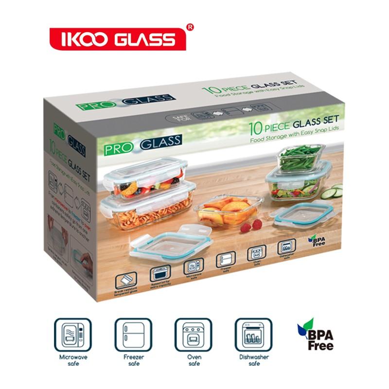 Vidro resistente ao calor 10 pcs presente foodcontainer com caixa de cor