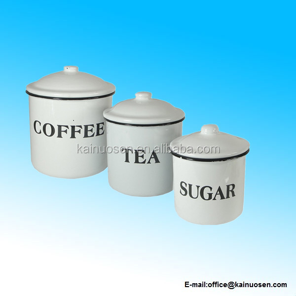 Set of 3 Enameled Ceramic Coffee Tea Sugar Containers