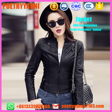 2017 new spring coat lady suit women's Motorcycle Leather short winter jacket size