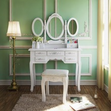 White Drawer Mirrored Wooden Wall Mounted Dressing Table Designs