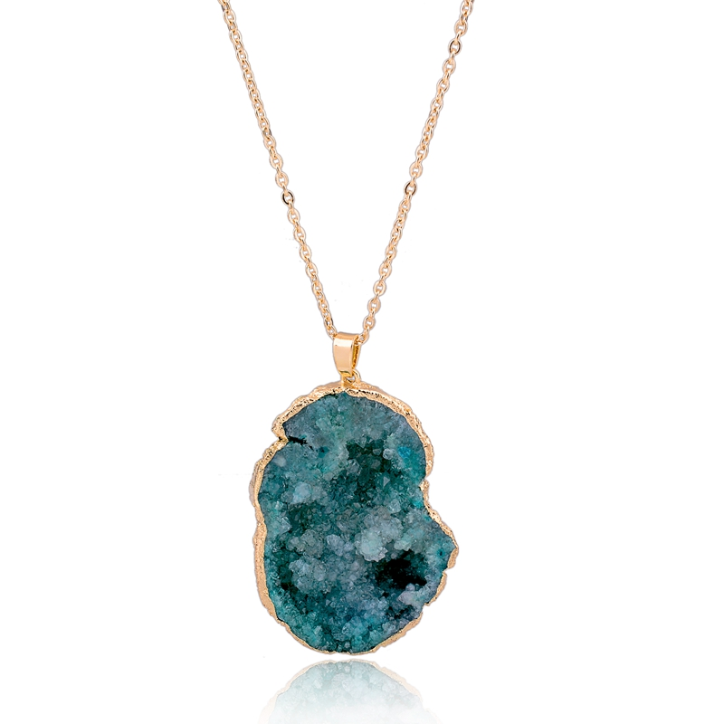 Gold Electroplated Natural Drussy Druzzy ,Agate Druzy Slice Drusy Slice Pendant Charm, 35-40 mm Pendant