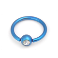 Blue plated stainless steel jewelled ball closure piercing ring wholesale