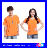 Customized work clothing wholesale breathable plain orange t shirt for unisex