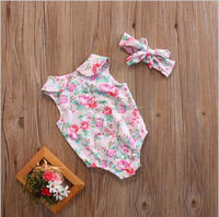 Summer Baby Girl Cute Floral Pleats Baby Clothes Bouquet Clothing and headband accessories