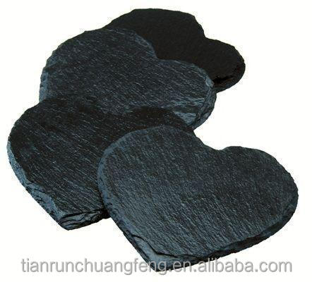 Restaurant Supply Tableware coaster Customized Natural Slate Black Stone drink coaster set