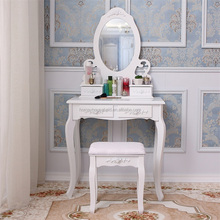 Beautiful white wooden wall mounted dressing table with mirror and stool