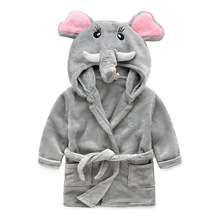 Wholesale fashion factory price hot sale cute polyester flannel kids animal bathrobe