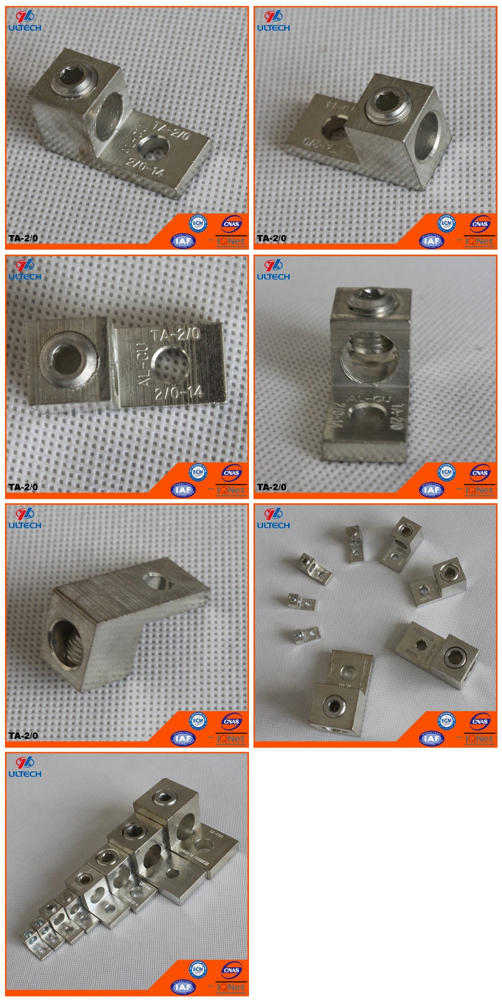 TA-2/0 One Conductor One Hole Mount Aluminum Mechanical Lug UL Listed
