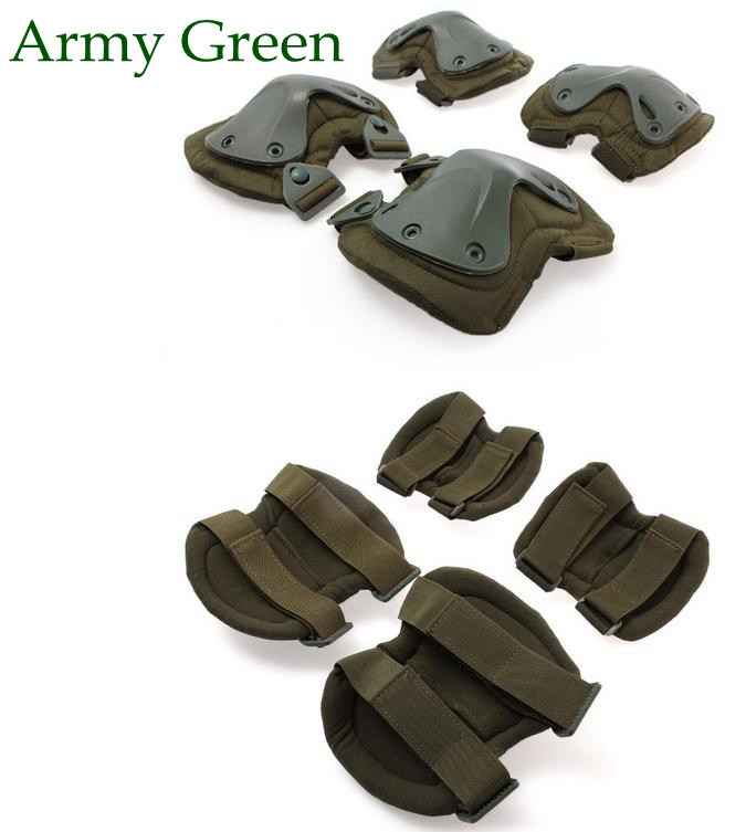 Dark Green Military Tactical Knee and elbow Pads set for relief workers