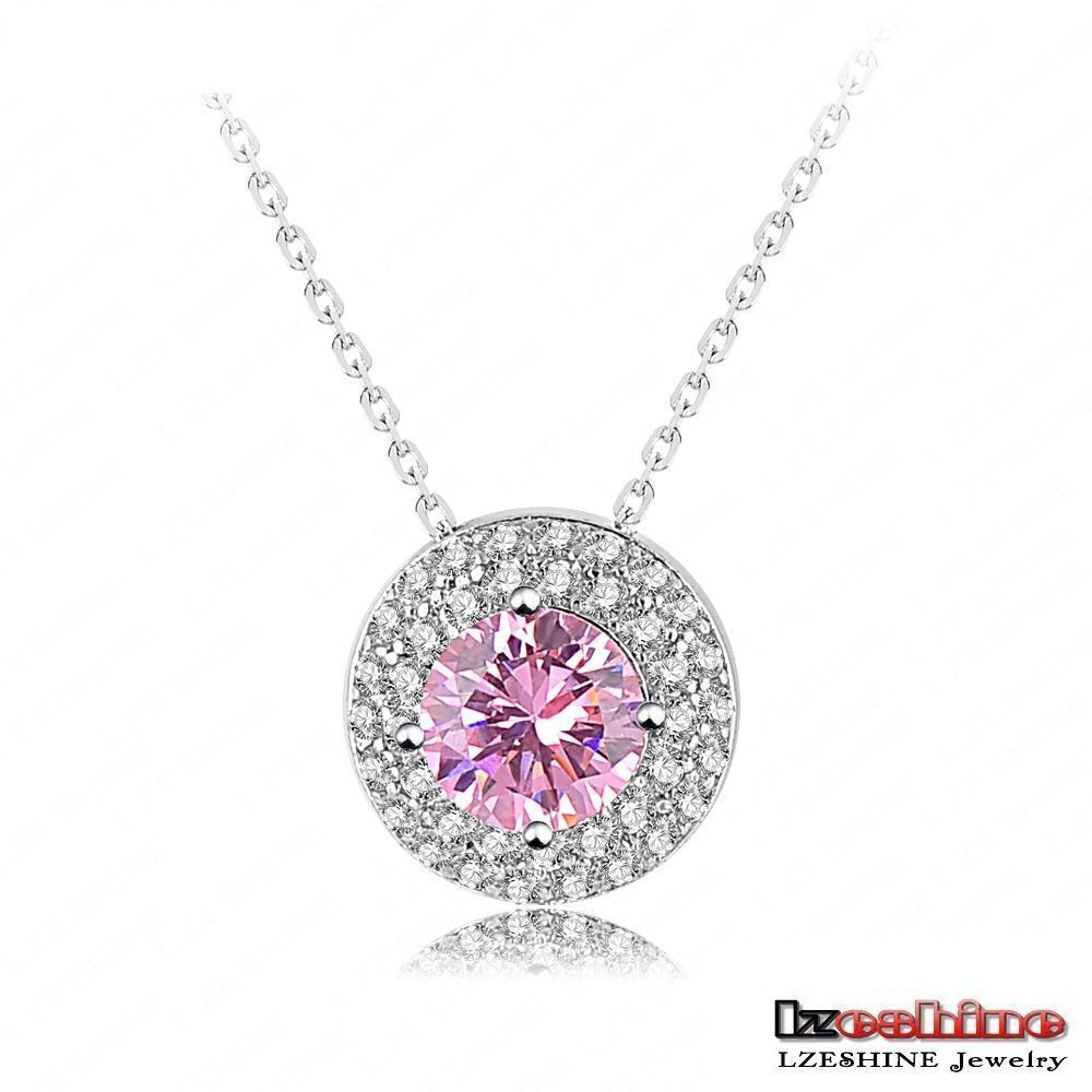 Rani Haar Designs Round Pink Zircon Pendant Necklace For Women 18k Platinum Plated Copper Necklace Wholesale CNL0046-B