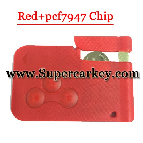 High quality 3 Button Remote Smart Card Red Colour For Megane Card