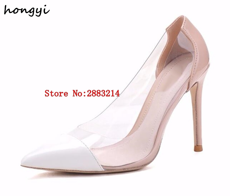 8662c4bc1f5 Nude Black White Patent Leather Transparent Pumps Clear PVC High Heels  Women Shoes Pointed Toe Stiletto-Heeled Party Shoes