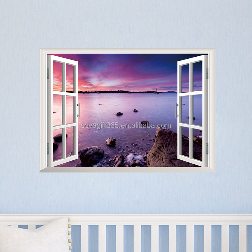 3D Beach Window View Removable Wall Stickers Vinyl Decal Home Decor Deco Art DIY