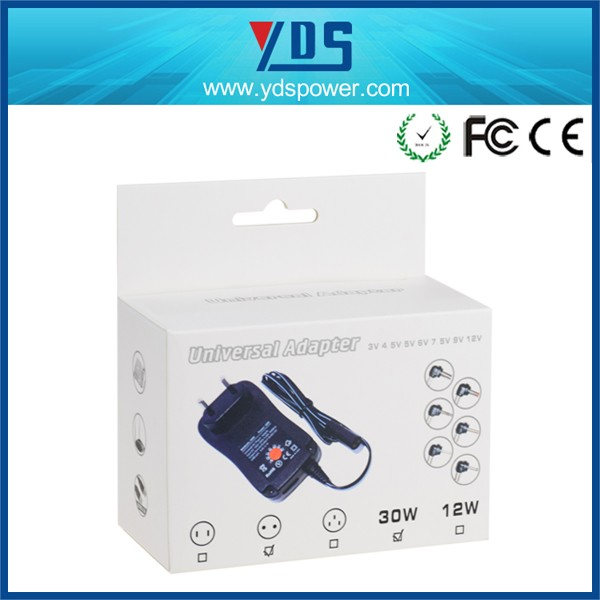 Manual AC DC switching 3V-12V 30W Universal Wall Plug-in Adapter with 6 Alternative DC Tip+USB port