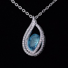 One Crystal Stone Pendant Blue Heart Of Ocean Crystal Pave Diamond Pendant Necklaces