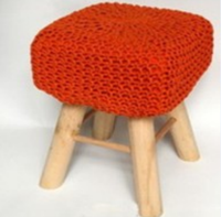 Store More Red Puff and Knitted Ottoman Stool