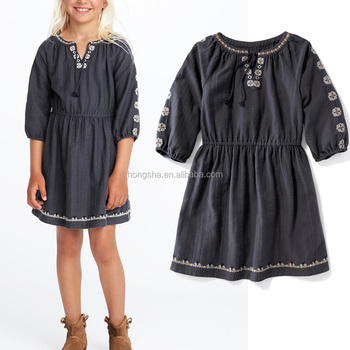 Boho Embroidered Cinched Waist Dress Neck Frock Designs For Kids Girls wholesale children's boutique clothing HSd5304