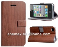 Wood Pattern Faux Leather Case with Magnetic Closure for iPhone 4S 4G 5S