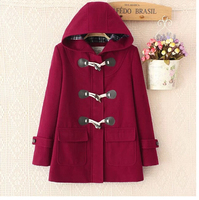 Preppy style hood fashion horn buttons women long woolen coats thick girls overcoats
