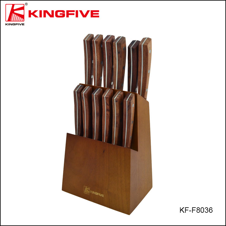 12 Piece Luxury Kitchen Knives Set With Block Rubber Wood With Painting