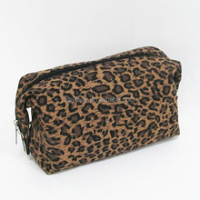 2016 fashion leopard print canvas makeup cosmetic bag