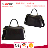 China supplier weave handle leather handbag with ribbon shoulder real purse