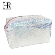 wholesale private silver PU holographic luxury cosmetic bag