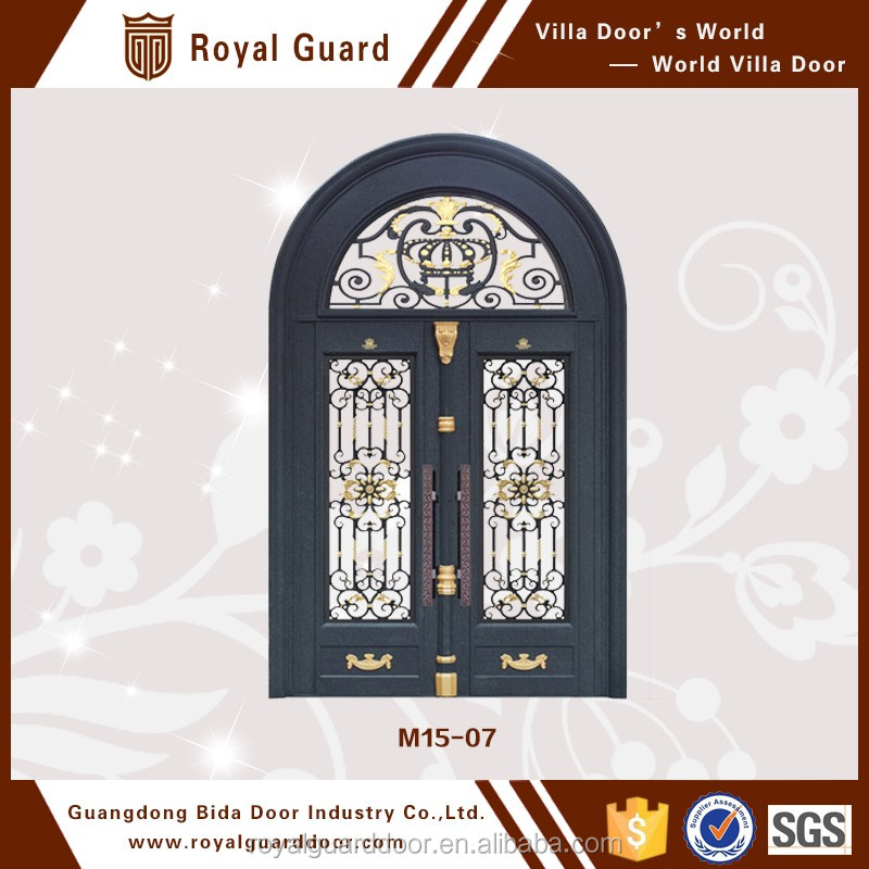 Alloy casting house main door with tempered glass and scroll work