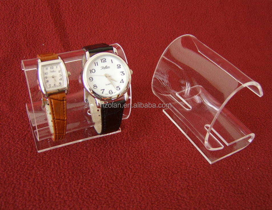 Double Clear Acrylic C-Clip Watch Bracelet Displpay Stand