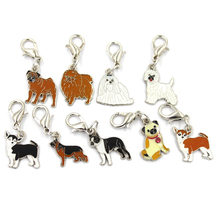 DIY Enamel Pet Collar Jewelry Wholesale, Alloy Dog Charm Pendants Bulldog Golden Retriever Samoyed Pug Husky Dachshund Chihuahua