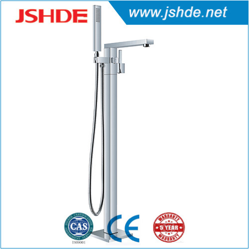 new square style 93001 Floor Free Standing Bathtub Faucet with Hand Shower
