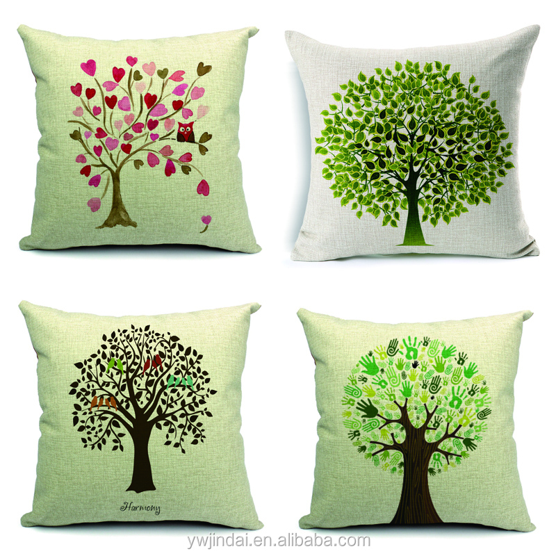 Thicker Cushions Cover Scrim Love, Green Palm Print And The Type Of Leaves Pillow Covers Decorative Machine Washable