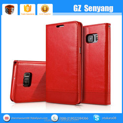 China Phone Accessories Credit Card Holder PU Leather Flip Case for S7 Wallet Cover