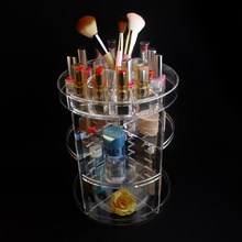 wholesale plastic clear acrylic beauty organizer 360 cosmetic organizer, lipstick display case, makeup brush holder