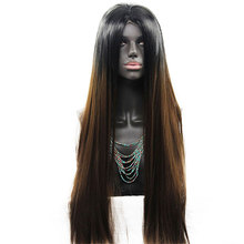 Wholesale silky Straight wave style wigs custom Heat resistant synthetic wigs with lacefront